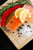 Salmon fillet with  lemon Royalty Free Stock Images