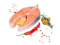 Salmon fillet with lemon. Isolated on a white background Stock Image