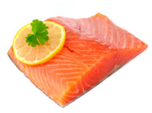 Salmon Fillet with Lemon Isolated on White Royalty Free Stock Photography