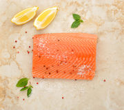 Salmon fillet with lemon lime and spices Stock Images