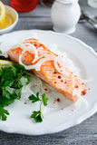 Salmon Fillet with lemon and parsley Stock Photography