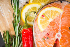 Salmon fillet with lemon. Salmon fillet with rosemary and lemon Stock Photos