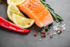Salmon fillet with lemon. Salmon fillet with rosemary and lemon Stock Image