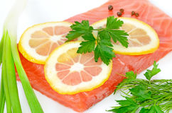 Salmon fillet and lemon slices Stock Photography