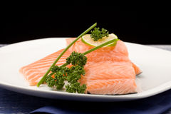 Salmon fillet with lime Royalty Free Stock Images