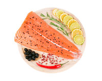 Salmon fillet with lime and rosemary. Isolated on a white background Stock Photo