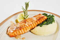 Salmon fillet with mashed potatoes Royalty Free Stock Photo