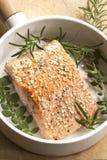 Salmon Fillet met Sesamzaden en Kruiden Stock Foto
