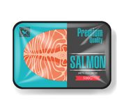 Salmon fillet packaging. Plastic tray container with cellophane cover. Mockup template for your design. Plastic food. Container. Vector illustration stock illustration