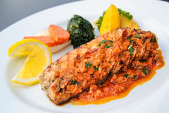 Salmon fillet with panang curry sauce thai style Stock Photos