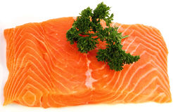 Salmon fillet with parsley Stock Photo