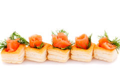 Salmon fillet in pastries. Salmon rolled fillet in pastries isolated on white background Stock Image