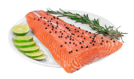Salmon fillet with pepper citrus on plate. Royalty Free Stock Image