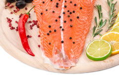 Salmon fillet with pepper and citrus. Stock Image