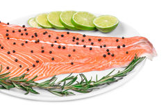 Salmon fillet with pepper citrus. Royalty Free Stock Photo