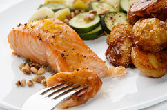 Salmon Fillet with pine nuts Stock Images