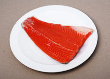 Salmon fillet on a plate. Raw salmon fillet on a white plate royalty free stock photos