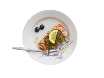 Salmon fillet on the plate Stock Images