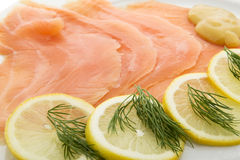 Salmon fillet on plates Royalty Free Stock Photos