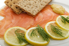 Salmon fillet on plates Stock Photography