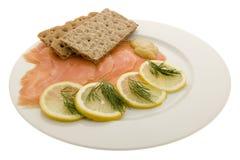 Salmon fillet on plates Royalty Free Stock Photos