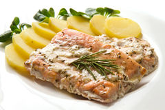 Salmon fillet with potatoes Royalty Free Stock Images