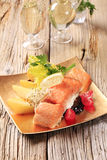 Salmon fillet and potatoes Royalty Free Stock Photo