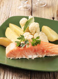 Salmon fillet and potatoes Stock Photography