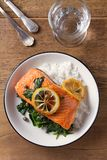 Salmon fillet with rice, spinach and lemon. Salmon with garnish. Fish for healthy dinner. View from above, top Stock Photos