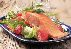 Salmon fillet and salad Stock Photo