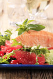 Salmon fillet and salad Royalty Free Stock Images