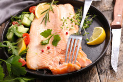 Salmon fillet and salad Stock Image