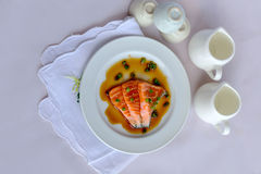 Salmon fillet with sauce Stock Photography