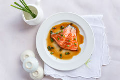 Salmon fillet with sauce Royalty Free Stock Images