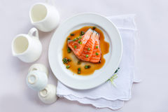 Salmon fillet with sauce Royalty Free Stock Photos