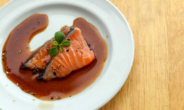 Salmon fillet with sauce Stock Photo
