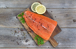 Salmon Fillet seasoned and ready for cooking Royalty Free Stock Photography