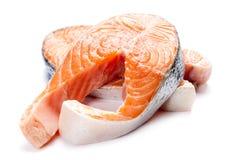 Salmon fillet slices Stock Photos