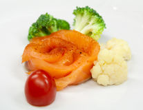 Salmon fillet with steamed broccoli Royalty Free Stock Photography