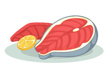 Salmon fillet or tuna steak. Salmon fillet and lemon. Fresh seafood for healthy diet: tuna steak or piece of raw red fish. Cartoon icon of sea food. Vector Royalty Free Stock Photos