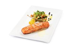 Salmon fillet with vegetable ratatouille isolated Royalty Free Stock Photos