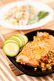 Salmon fillet with vegetables Royalty Free Stock Photos