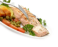 Salmon Fillet With Vegetables Stock Image