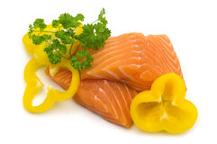 Salmon fillet and vegetables Stock Images