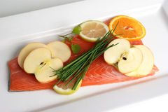 Salmon fillet on a white plate Royalty Free Stock Photography