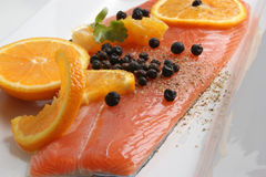 Salmon fillet on a white plate Royalty Free Stock Images