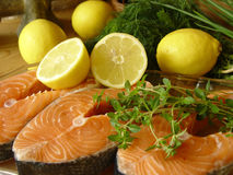 Salmon fillets. Fresh fish Royalty Free Stock Image