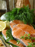 Salmon fillets. Fresh fish Royalty Free Stock Images
