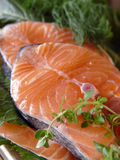 Salmon fillets. Tasty fresh fish Stock Photography