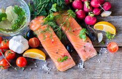 Salmon fillets from above Royalty Free Stock Photo